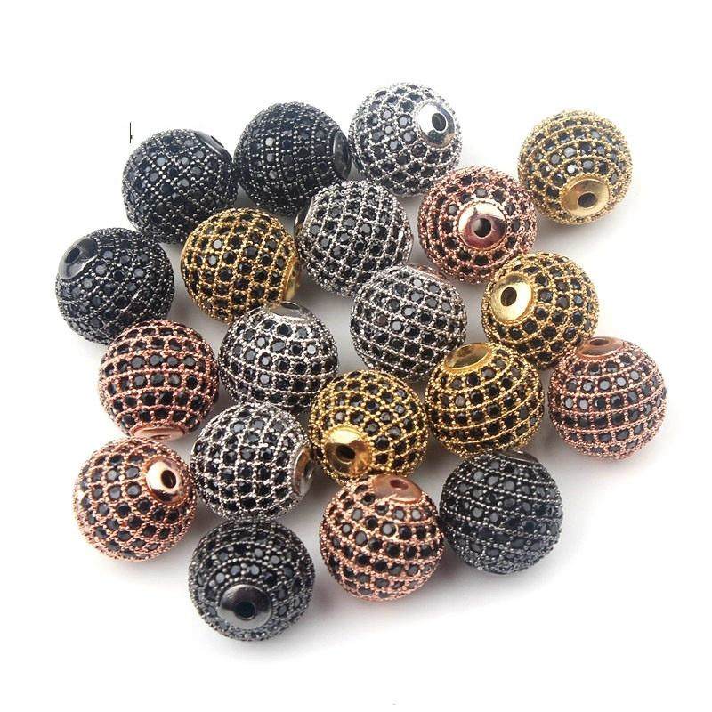 Jewelry Findings CZ Micro Pave Brass Round Beads Gold Silver Beaded Spacer Fit for DIYJewelry Making Bracelet Supplies