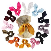 Wholesale New Design Long Ribbon Different Solid Colors Velvet Bow Hair Scrunchies for Women rubber band scrunchies hair