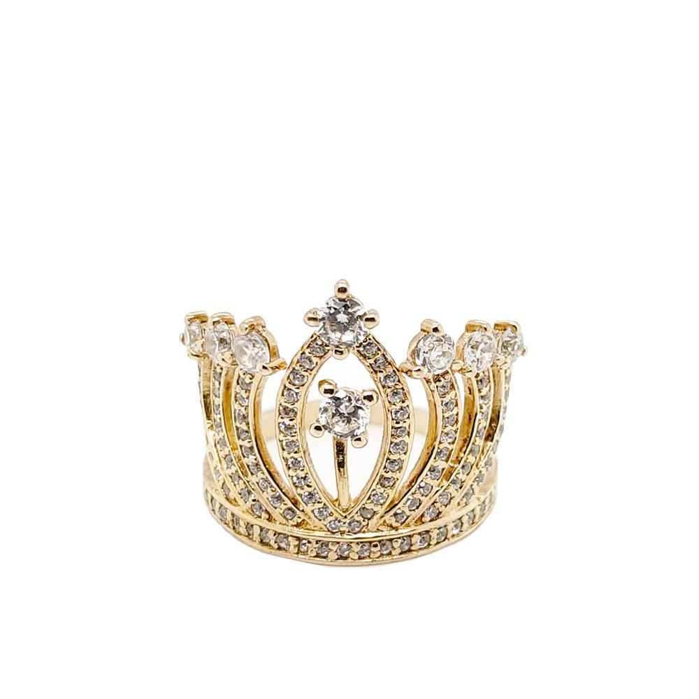 Fashion wholesale exquisite cz crown gold ring