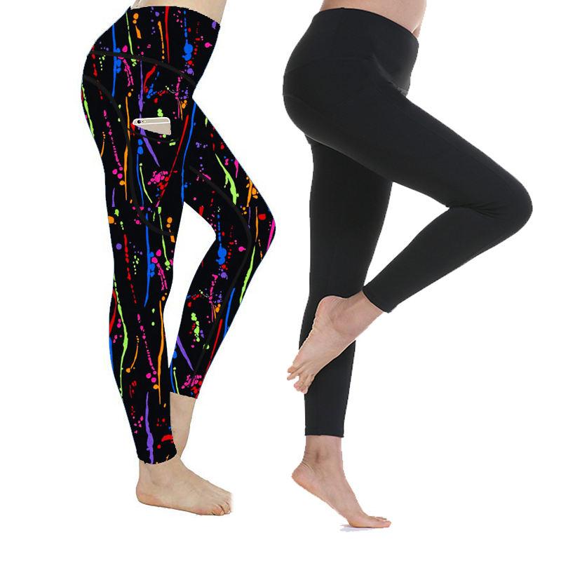 Custom 215gsm 92%polyester 8%spandex Black Leggings with pocket Brushed Water Print Fashion Bulk Leggings