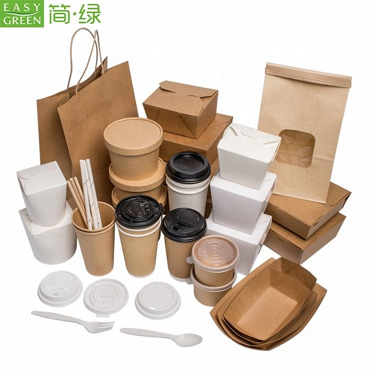 Easy Green Disposable Food Packaging Box Kraft Lunch Paper Cup