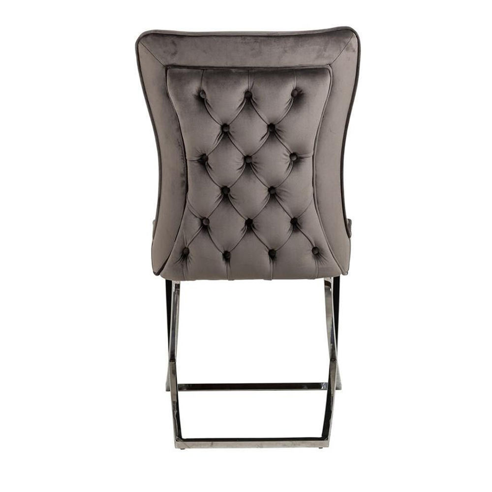 B8044 Grey silver velvet dining table chair