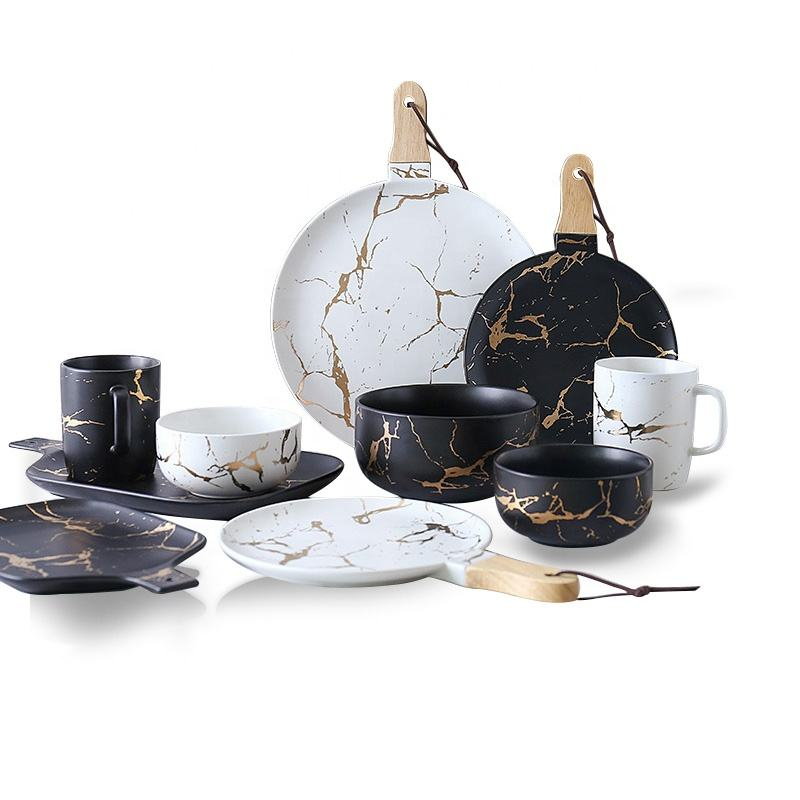 Creative golden Marbling Matte Porcelain Tableware Set Black Color Dinner Set