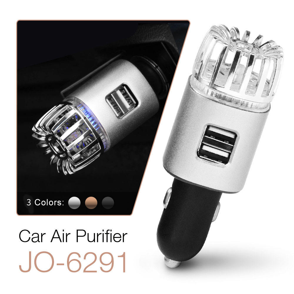 New 2021 JO-6291 ETL Factory Price Mini 12V Air Cleaner 2-in-1 USB Charger PM2.5 Ionizer Car Air Purifier