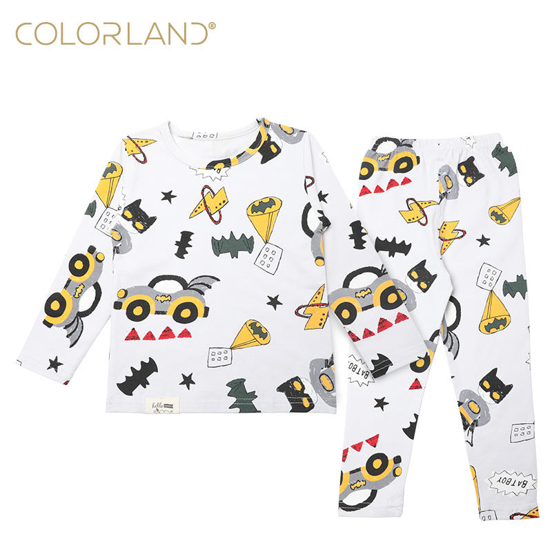 Colorland Hot Sell Baby Clothing Set long sleeve kids pajamas children sleepwear