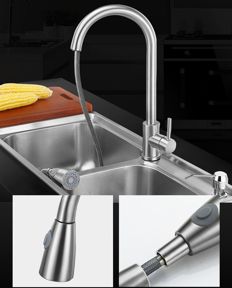 Hot And Mixer Water Tap Kitchen Stainless Steel Tap Kitchen Mixer