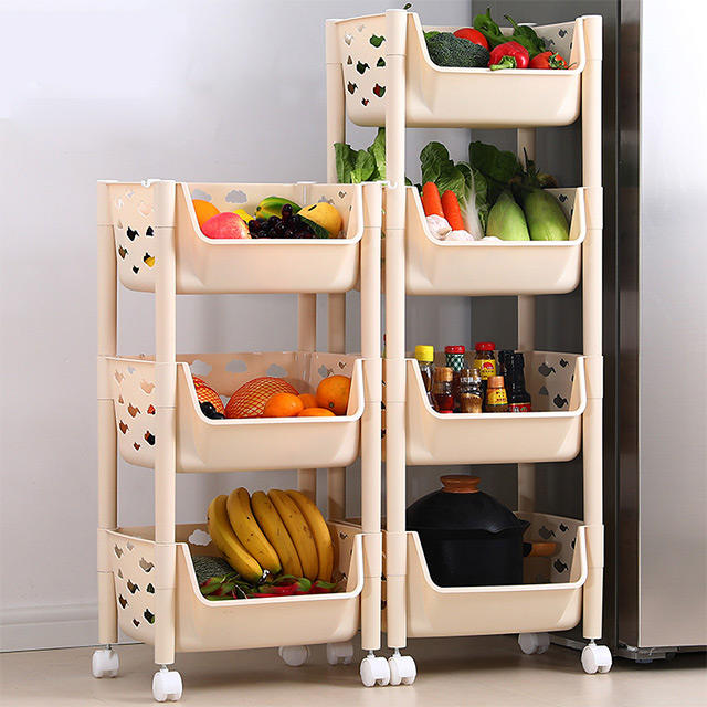 2 to 5-Layers Rolling Cart Fruit Shelf Vegetable Display Basket Kitchen Storage Rack Organizer Holders