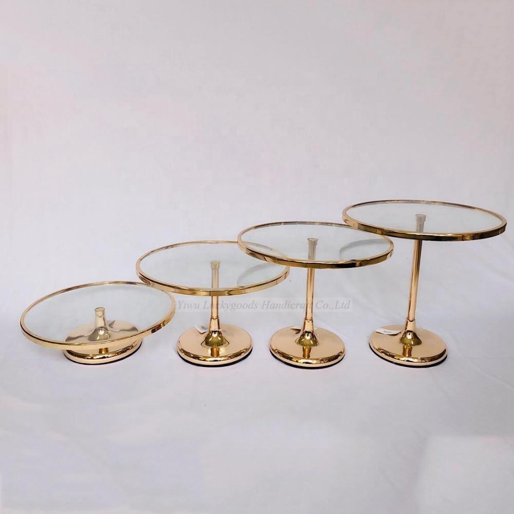 LK20191008-3 Wholesale decorative glass top gold round metal wedding cake display stand