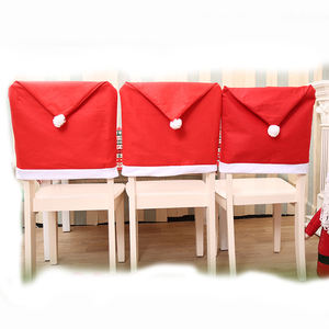 2019 New Year Christmas Party Supplies Table Party Decor 4/6 pcs Santa Claus Hat Chair Covers Dining Chair Back Covers
