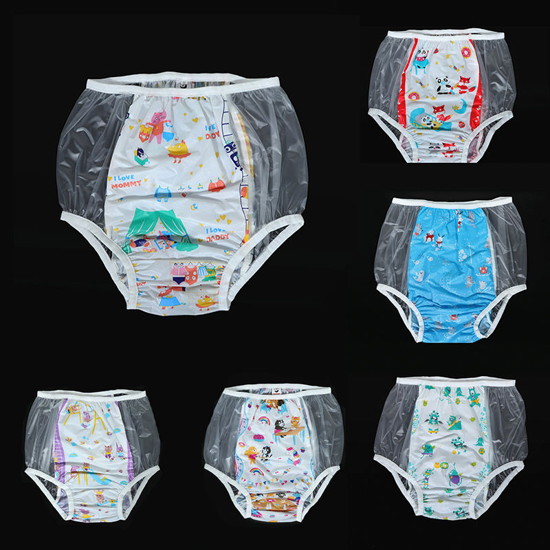2021 Cheap Colorful PVC Diaper Pants Waterproof Plastic Pants PVC Adult Baby Girls In PVC Pants