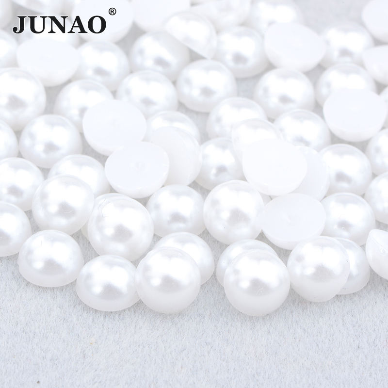 2 4 6 8 10 12 16 18 20mm White Imitation Pearls Half Round Pearls Beads Flatback Pearl for DIY Decoration
