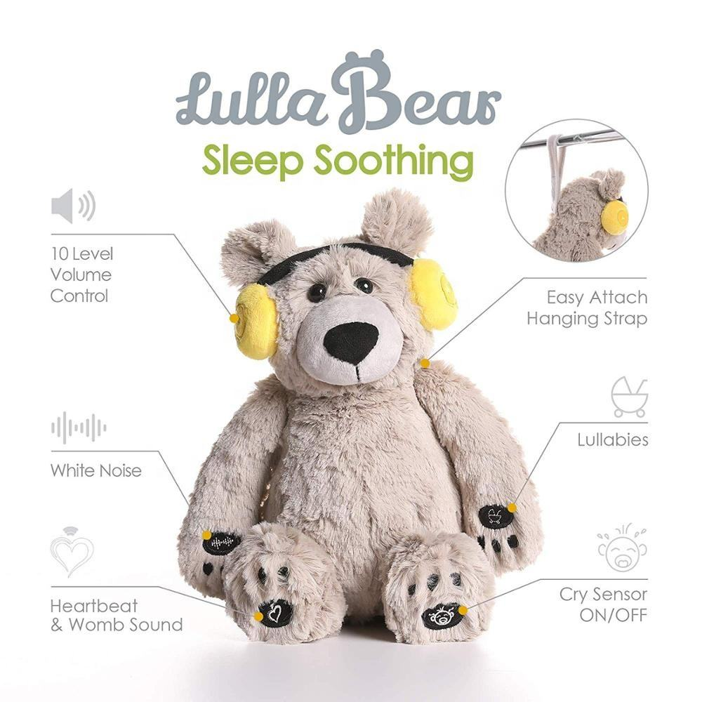 Cry Sensor Baby Lulla Bear Toy With Human Shusher Womb's Heartbeat Lullabies for Baby Sleeping, Baby Shower Gift