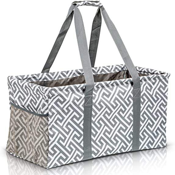 Custom Extra Large Utility Tote Bag Collapsible Pool Beach Canvas Basket