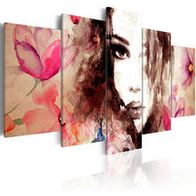 Abstract Pop Printing Picture Decoration Living Room African Woman Oil Painting Portrait 5 Panel Canvas Wall Art
