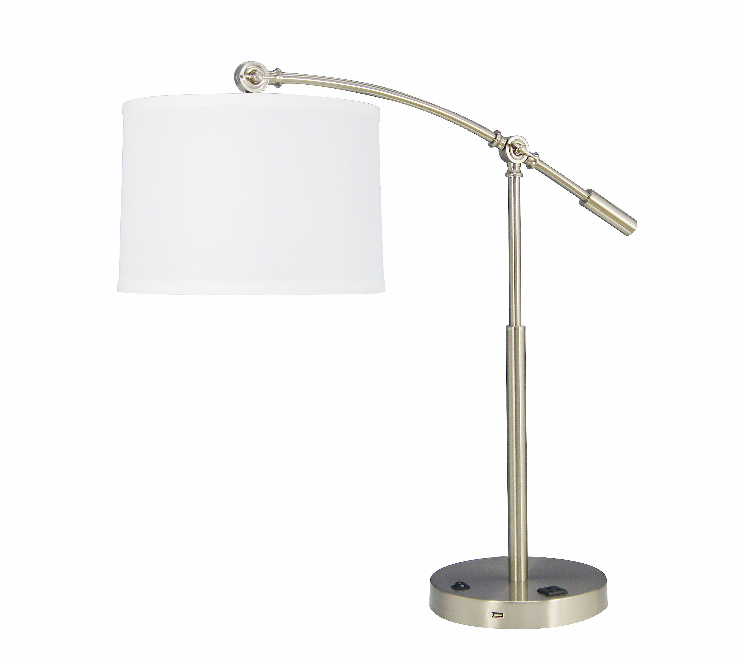 Modern Iron Bedside Lamp Adjustable Arc Hotel Table Lamp with White Round Fabric Shade and USB