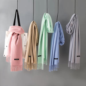 Winter New Arrival Thick Warm Long Pure Fashionable pure color pashmina scarf tassels shawl pure color Imitation cashmere scarf