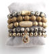 Fashion Jewelry Bracelet Sets Natural Stone & Glass Crystal Pave Bracelets Charm Bead Bracelet Set