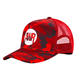 BSCI high profile red digital camo screen printed baseball hats