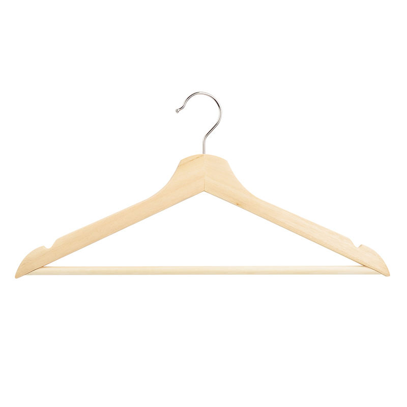 Wholesale china ecofriendly durable wooden coat hanger in house clothes hanger