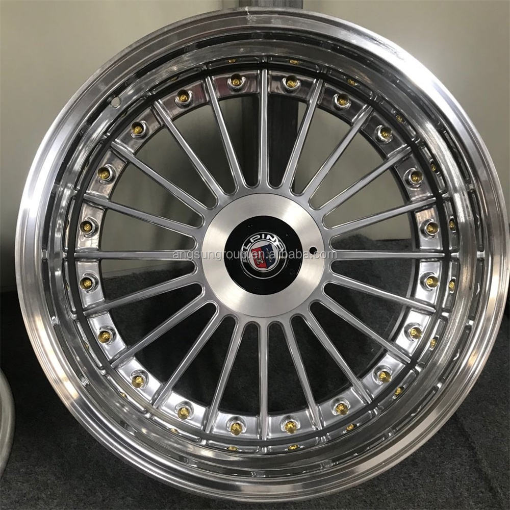 Hot selling High quality 3 pieces forged split wheel customized step lips deep dish wheel Alpina alloy wheels for BMW e24 e38