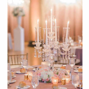 wholesale factory directly candelabra crystal wedding decoration table crystal candelabra glass candle holders tall candlestick