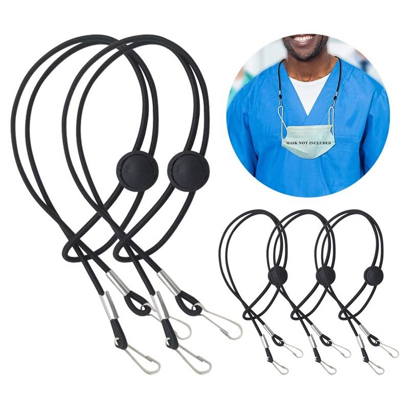 POLYESTER Face Maskin Lanyard Adjustable Masking Extender Strap Ear Saver Face Cover Lanyard with Clip