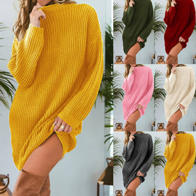 wholesale solid color women casual vestidos long sweater dress plus size loose knitted sweater for ladies Multiple Color