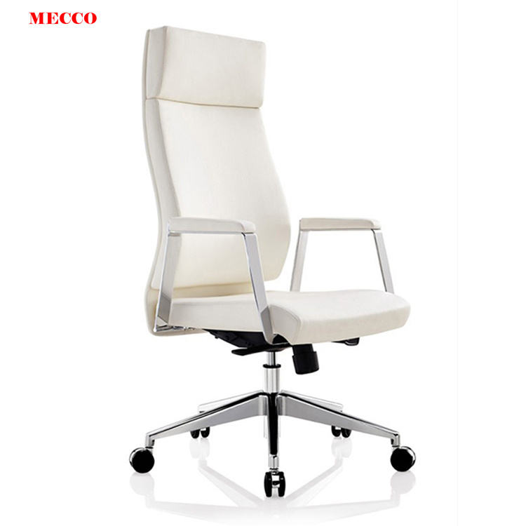 Deluxe Ceo High End Executive White Fixed Armrest Secretary Waiting Chairs Office Boss Desk Chair Computer Office A Chair
