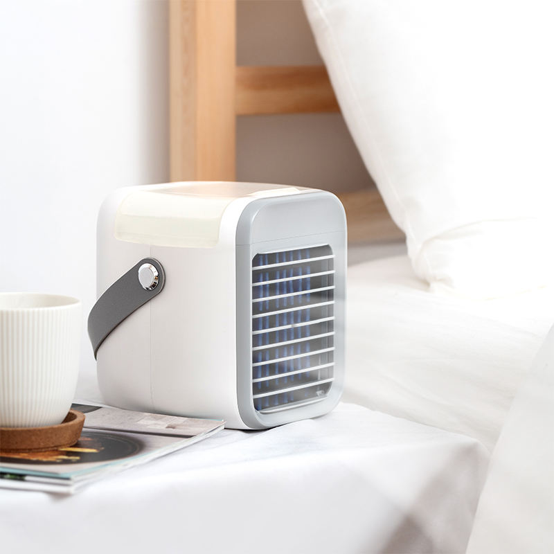 portable wireless battery powered cool wind water and ice negative ion mini air conditioner fan