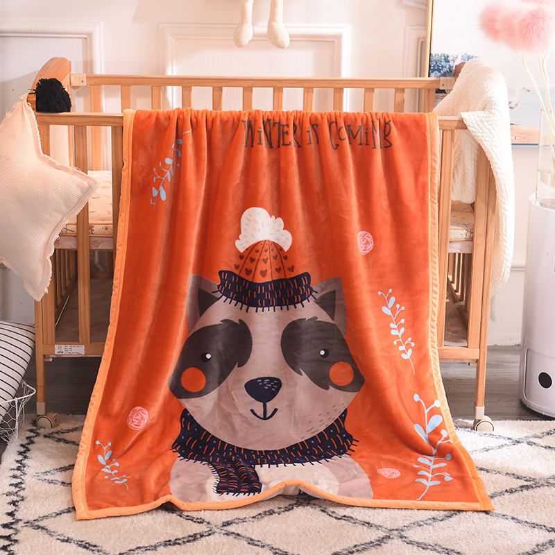 Custom cartoon bear warm fleece throw soft winter blanket for baby