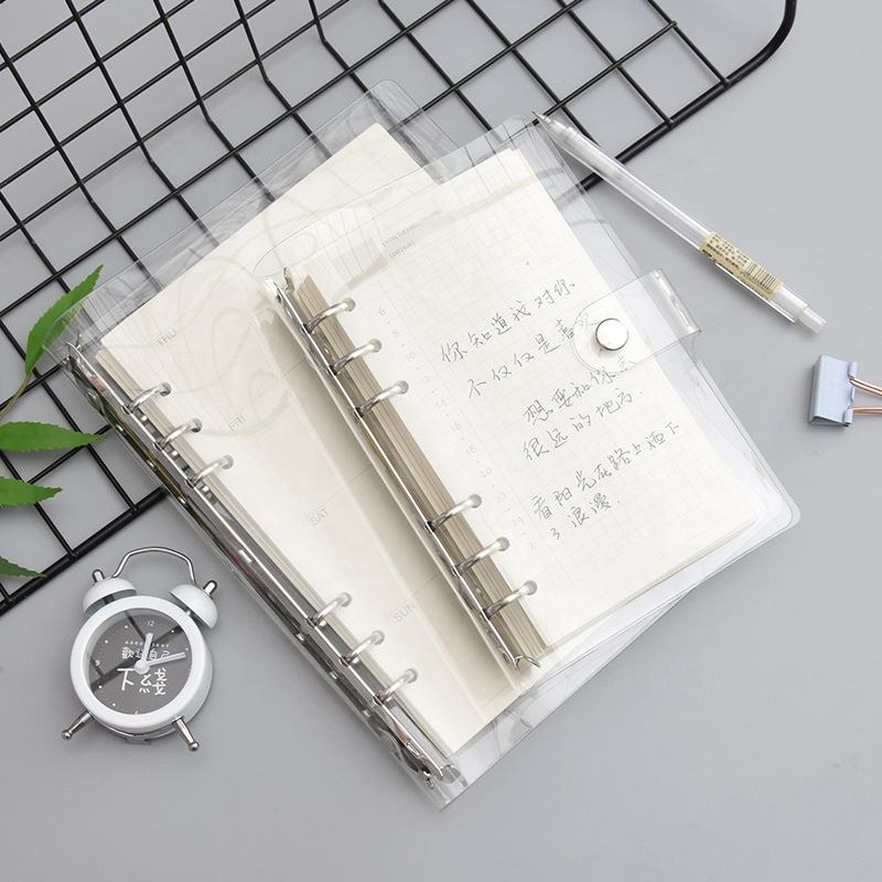 Korea transparent 6 ring blinder loose leaf notebook with PVC cover A5 A6 A7