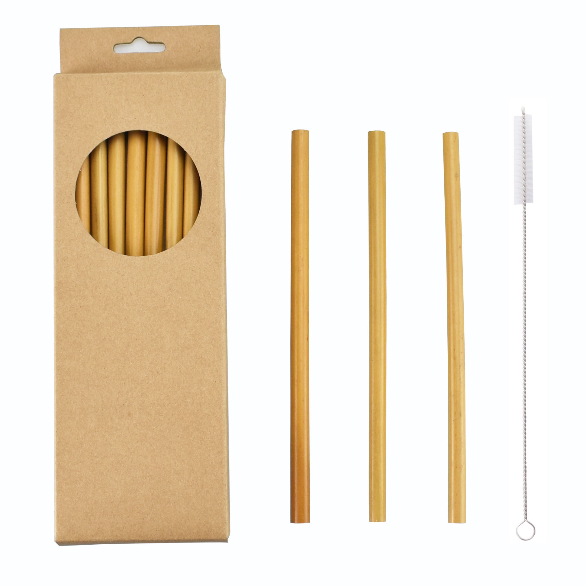 Amazon hot sale custom logo packaging eco friendly biodegradable 100% natural reusable drinking bamboo straw set with brush