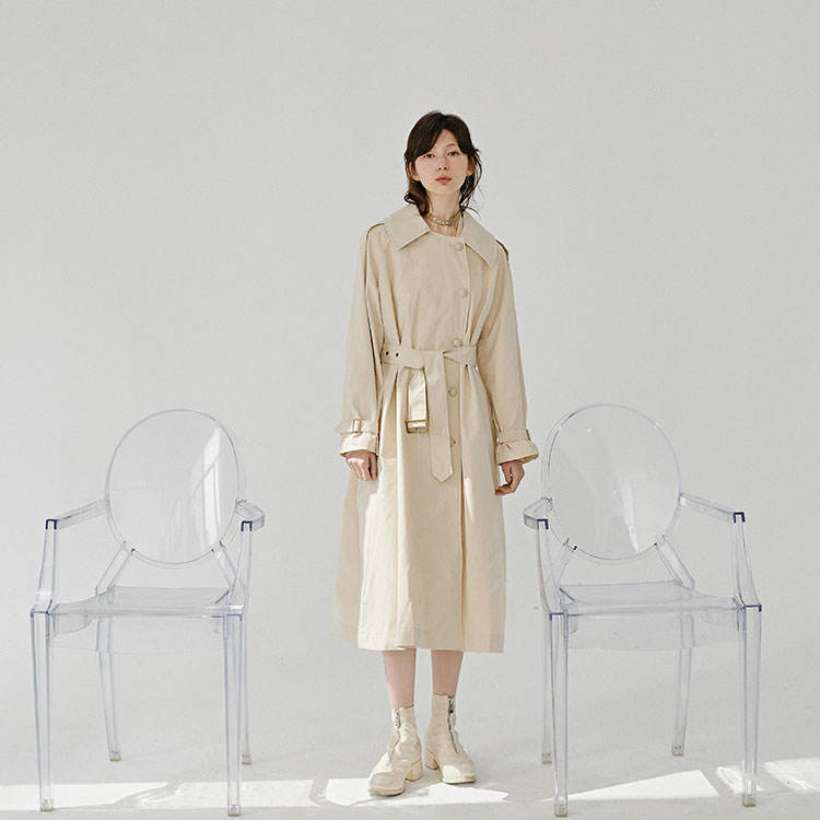 Fashion single breasted polyester casual long wind women dust coat