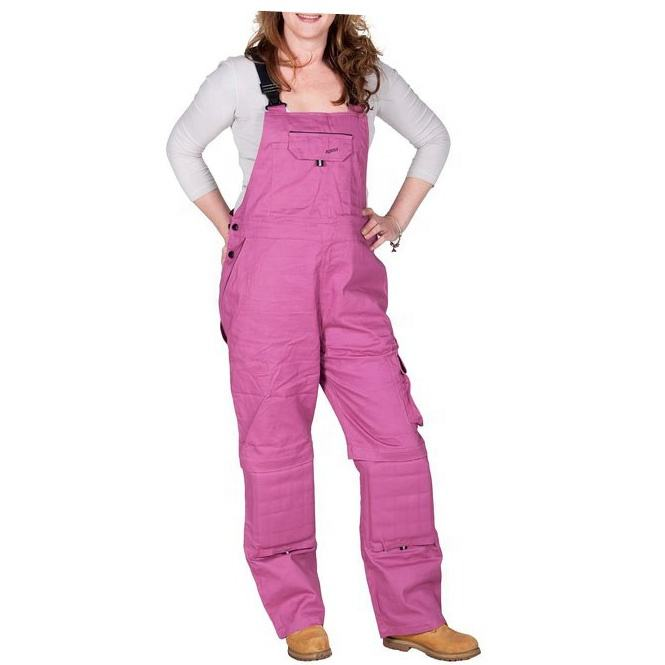 Women cotton denim bib dark pink work overalls