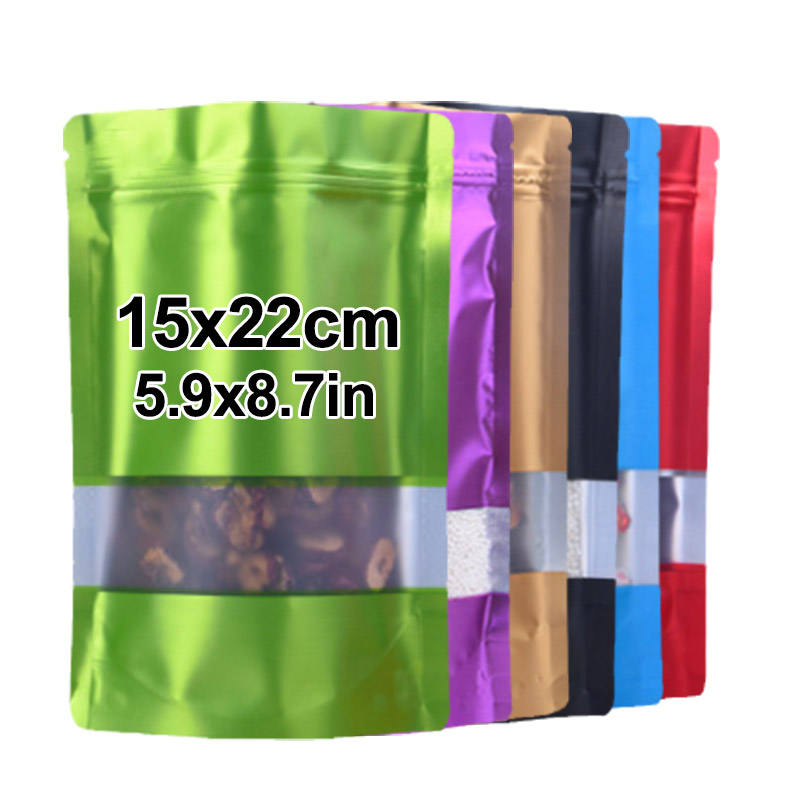In Stock 15*22cm Multicolor White Red Aluminum Foil Food Grade Decorative Window Zip Lock Plastic Zipper Stand Up Bag