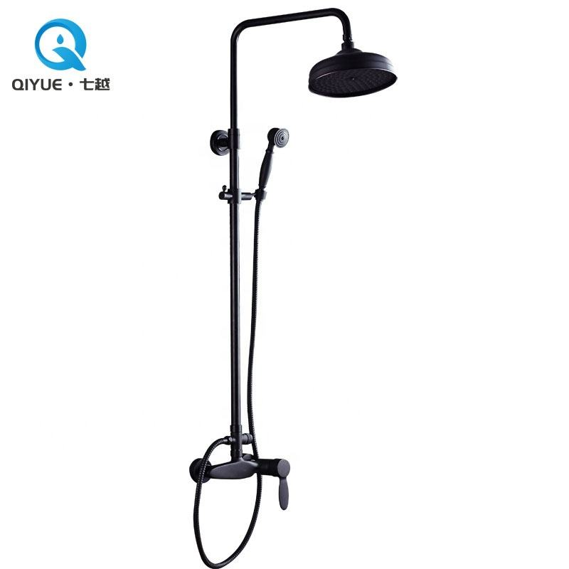 European wall mounted single lever brass quality orb finish black rain shower set bathroom robinet de douche