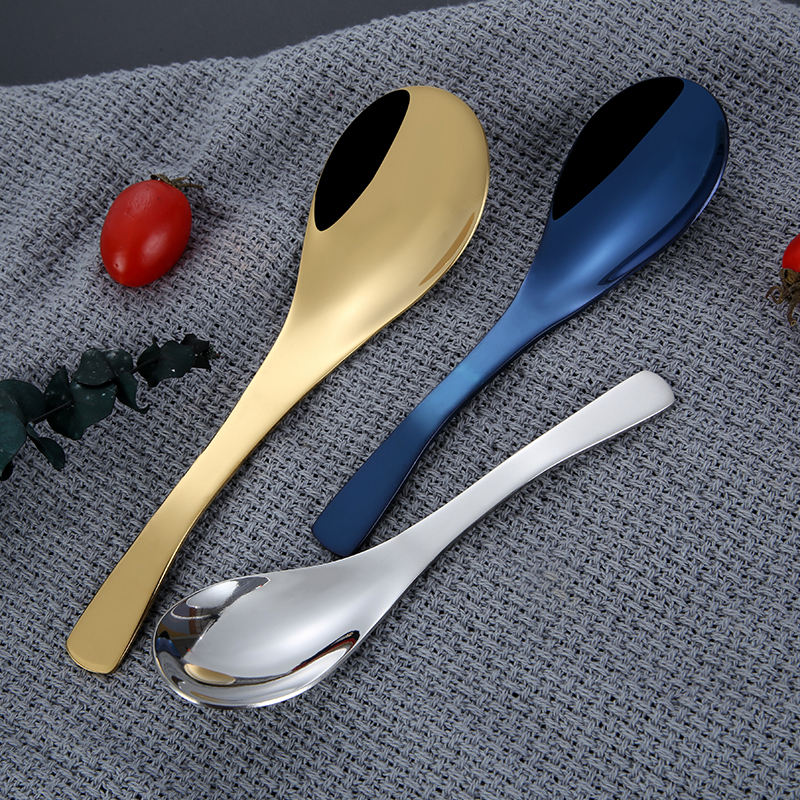 Table serving golden big soup spoon restaurant stainless steel spoons