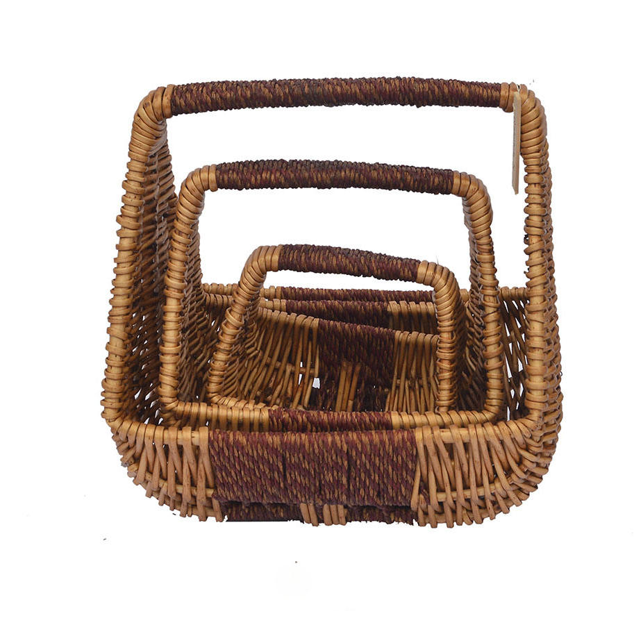 Fair Trade Strong styles Creative Wicker &Rope Weaved baskets with handles Willow baskets