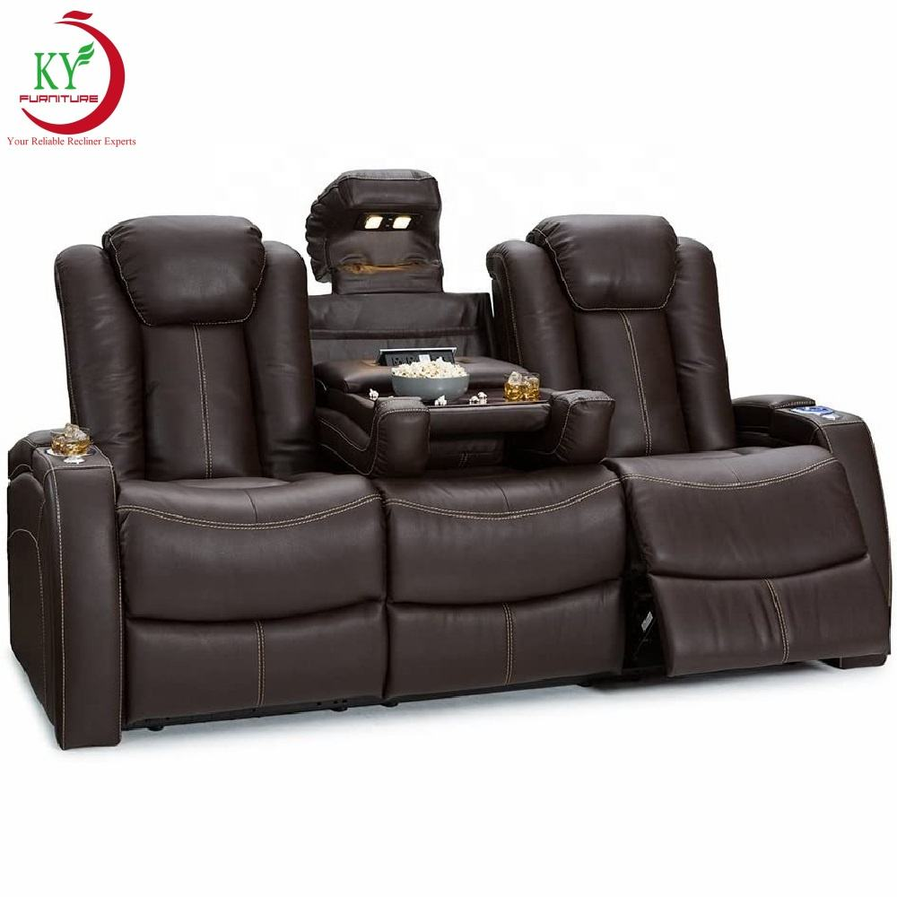 JKY Furniture Real Top Grain Leather VIP Movie Cinema Theater System Seats Sofa Chair With LED Lights And USB
