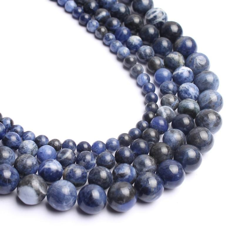 Wholesale 4/6/8/10/12mm Round Loose Beads Smooth Old Blue Sodalite Stone Beads For Jewelry Making