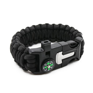 Camping cheap 550 reflective paracord survival watch weaves bracelet thin strap wrist whistle buckles with flint fire starters