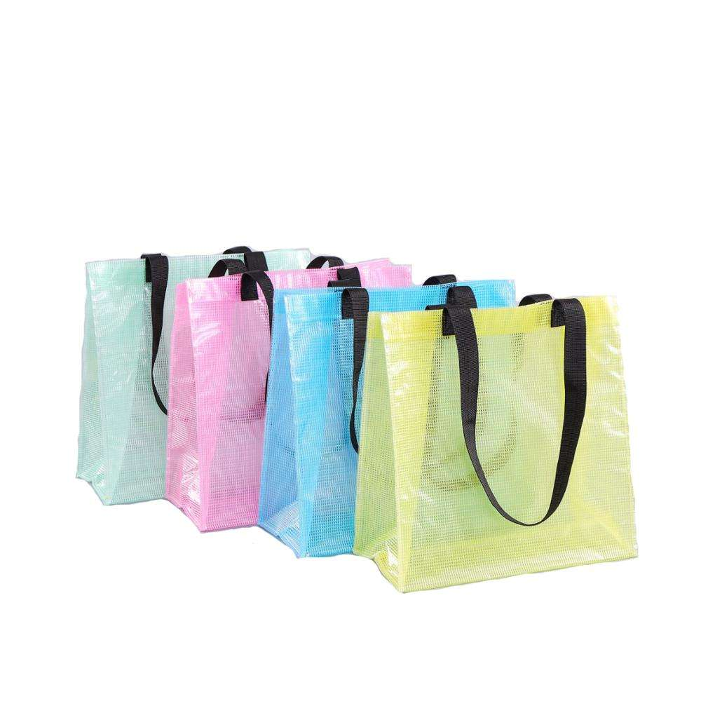 Factory Custom Translucent Colorful EVA Eco friendly Women Kids Promotional Gifts Plastic PVC Shopping Tote bag