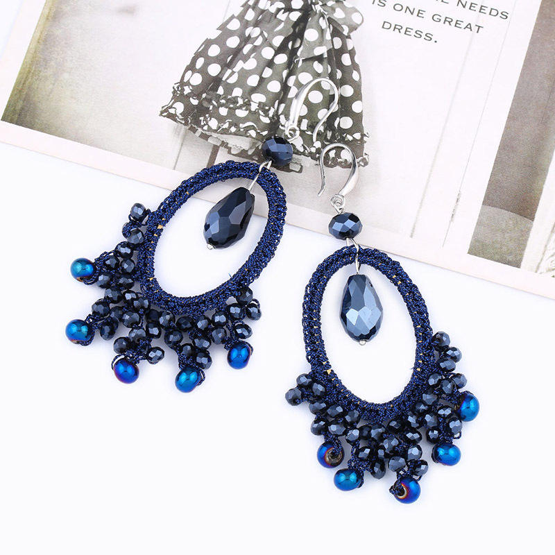 ER-530 Handmade Fashion Bohemia Glass Beads Oval Drop Earring Women Summer Beach Bridal Party Wedding Jewelry