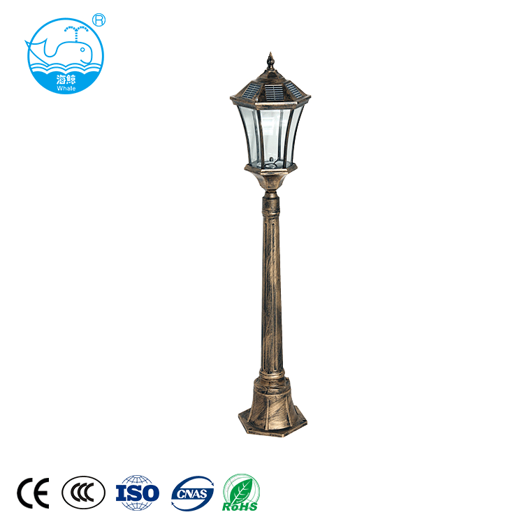 High quality aluminum vintage antique standing solar powered garden lamp outdoor LED solar garden pole light