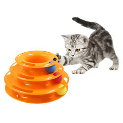 Three Levels Pet Cat Toy Training Amusement Plate Kitten Tower Tracks Disc Cat Intelligence Amusement Triple Disc Cat Toys Ball