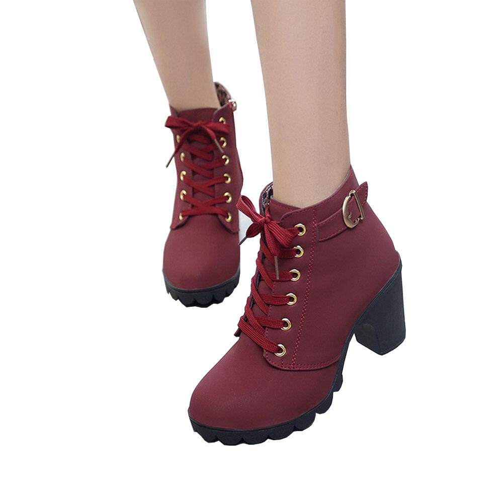 New Latest version winter Lace up shoes boots woman Platform high heel ankle boots Warm lady's shoes 2020