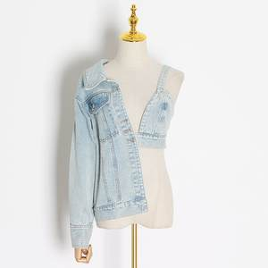Custom Womens Casual Outdoor Loose Fit Blue Split Joint Asymmetrical sexy Denim jeans Jacket