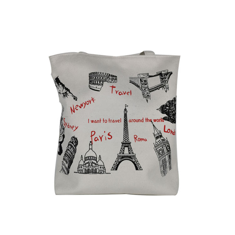 Customized logo printing White cotton canvas bag canvas drawstring bag