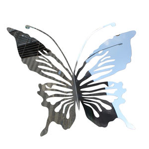 outdoor garden landscape metal decor Stainless steel hollow butterfly sculpture
