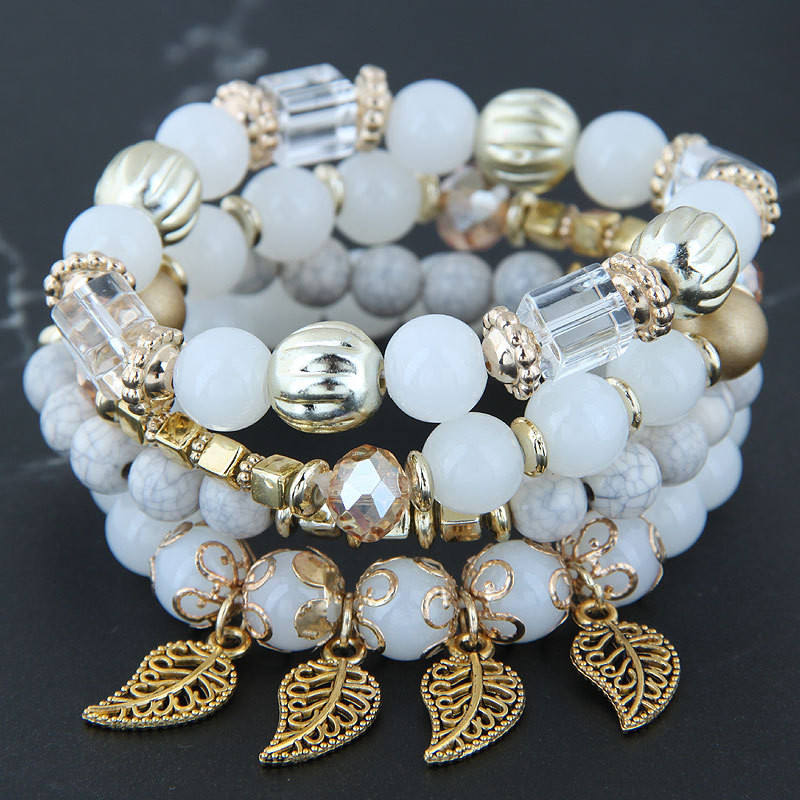 WJ-9882 Wholesale Yiwu Cheap Stylish Multi Leaves Glass Beaded Bracelet Of Women Ethnic Style Lady's Pendant Charm Bracelet